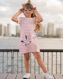 T-Shirt Dress in Seagulls & Stripes Print
