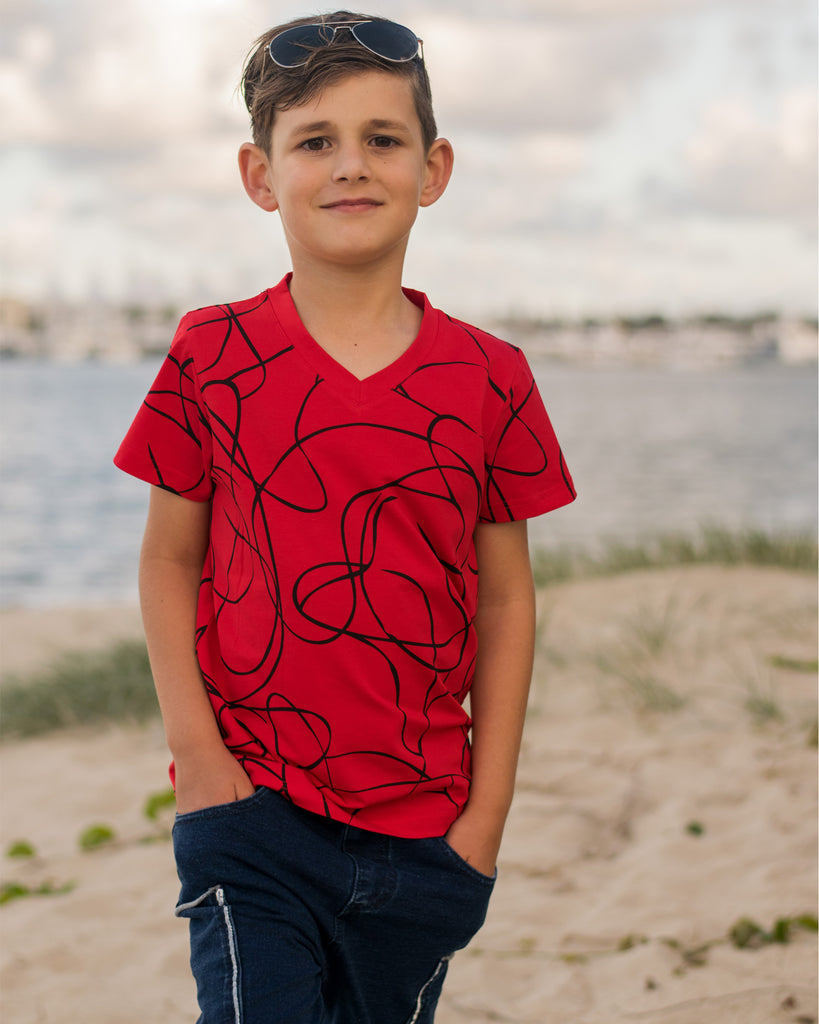 Swirls V- Neck Tee in Red