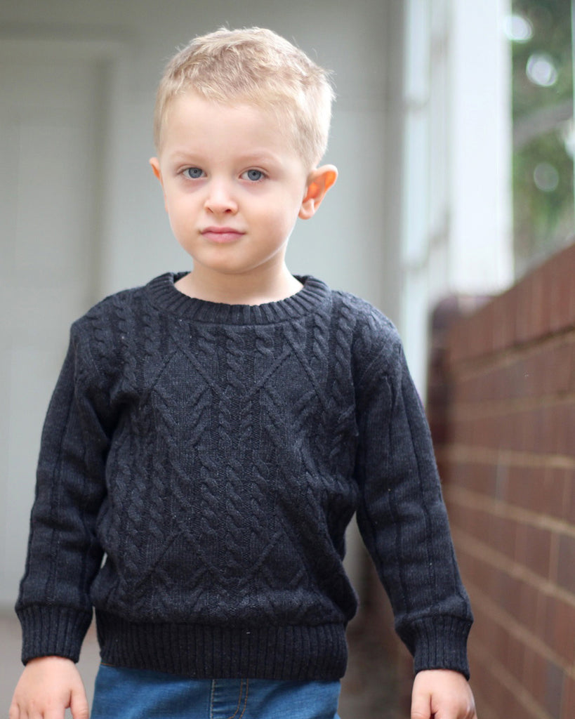 Cosy Cable Knit Jumper in charcoal on model