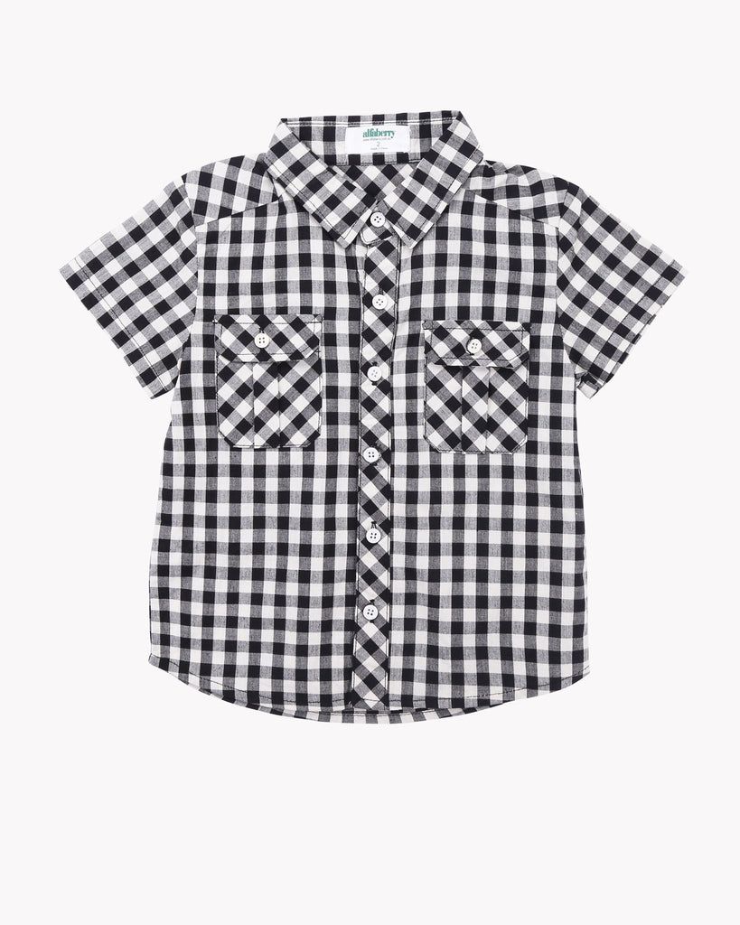 Gingham Shirt in Black Front