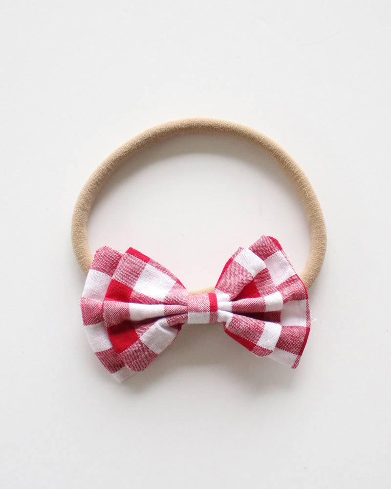 Soft Baby Headband in Red Gingham