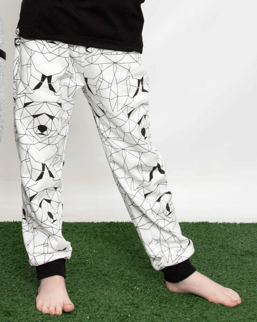 Geo Bear Cuffed Track Pant Ivory on Model