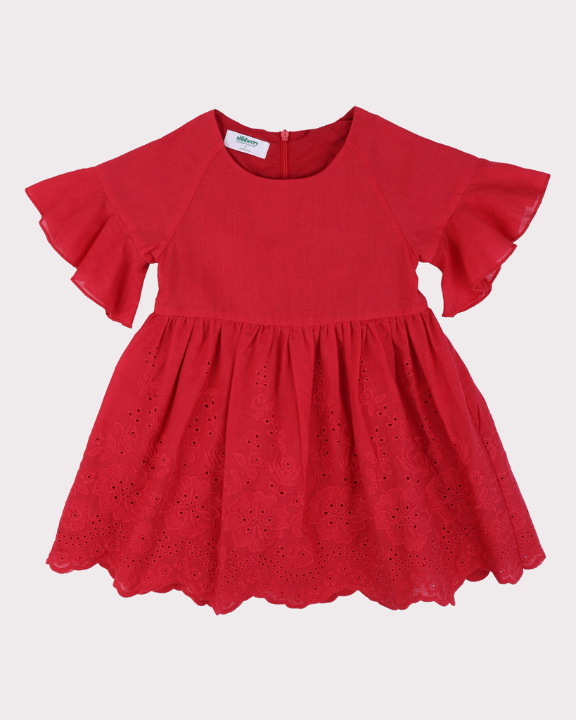 Bell Sleeves Babydoll Dress Red Broderie Front