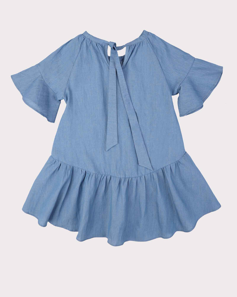 Bell Sleeve Chambray Dress Back