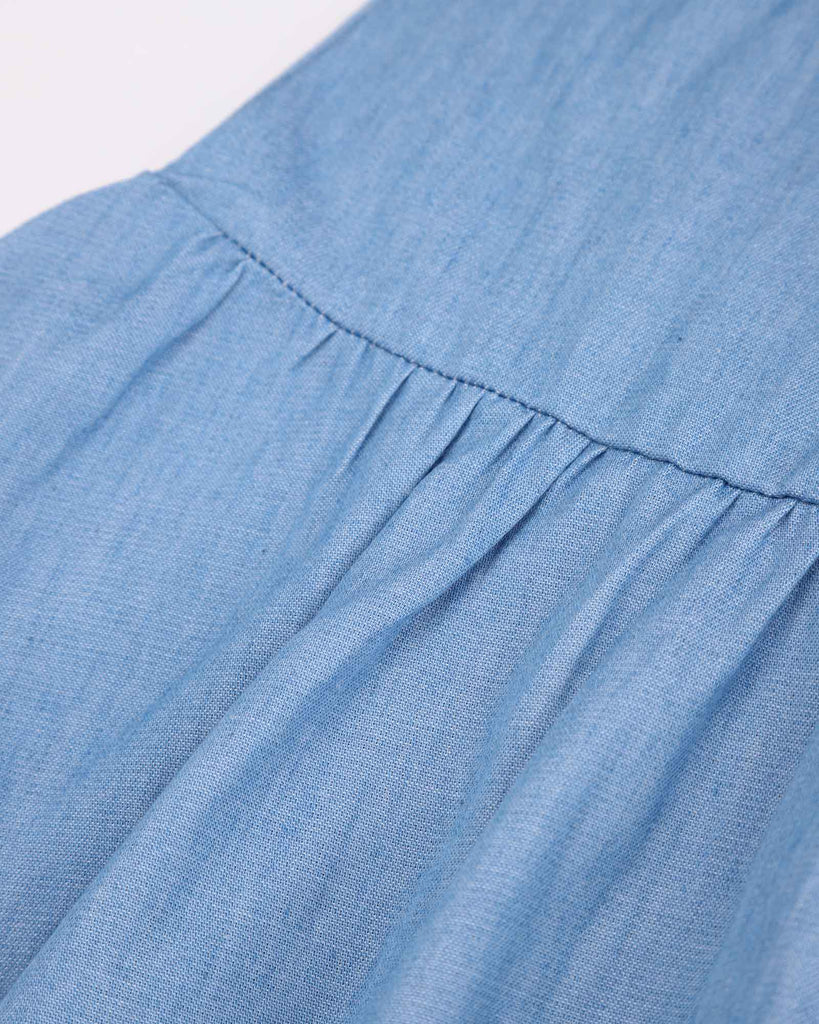 Bell Sleeve Chambray Dress Detail