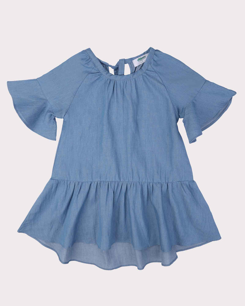 Bell Sleeve Chambray Dress Front