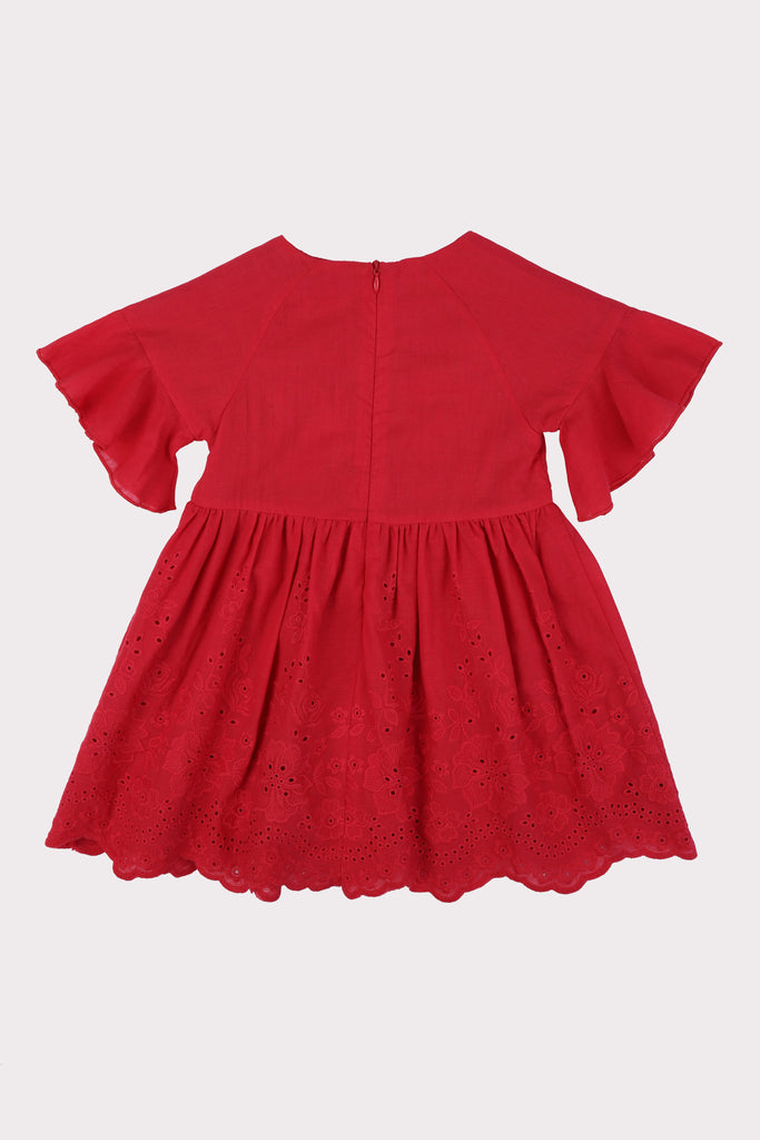 Bell Sleeves Babydoll Dress Red Broderie Back