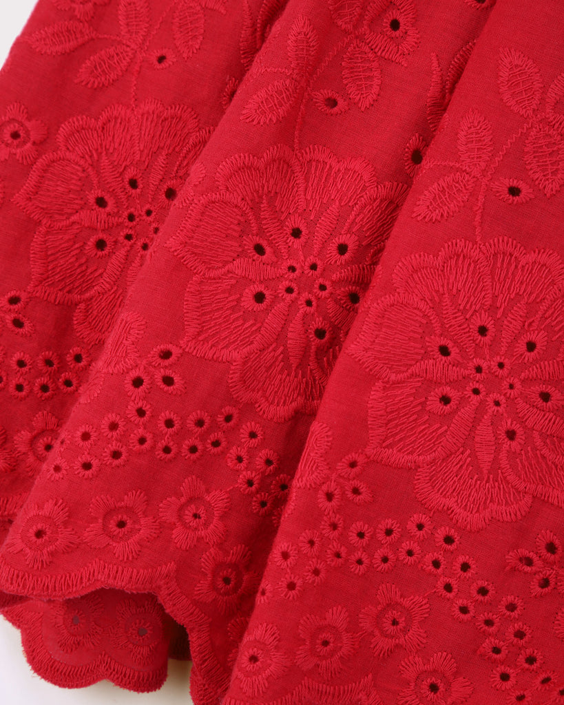 Bell Sleeves Babydoll Dress Red Broderie Detail