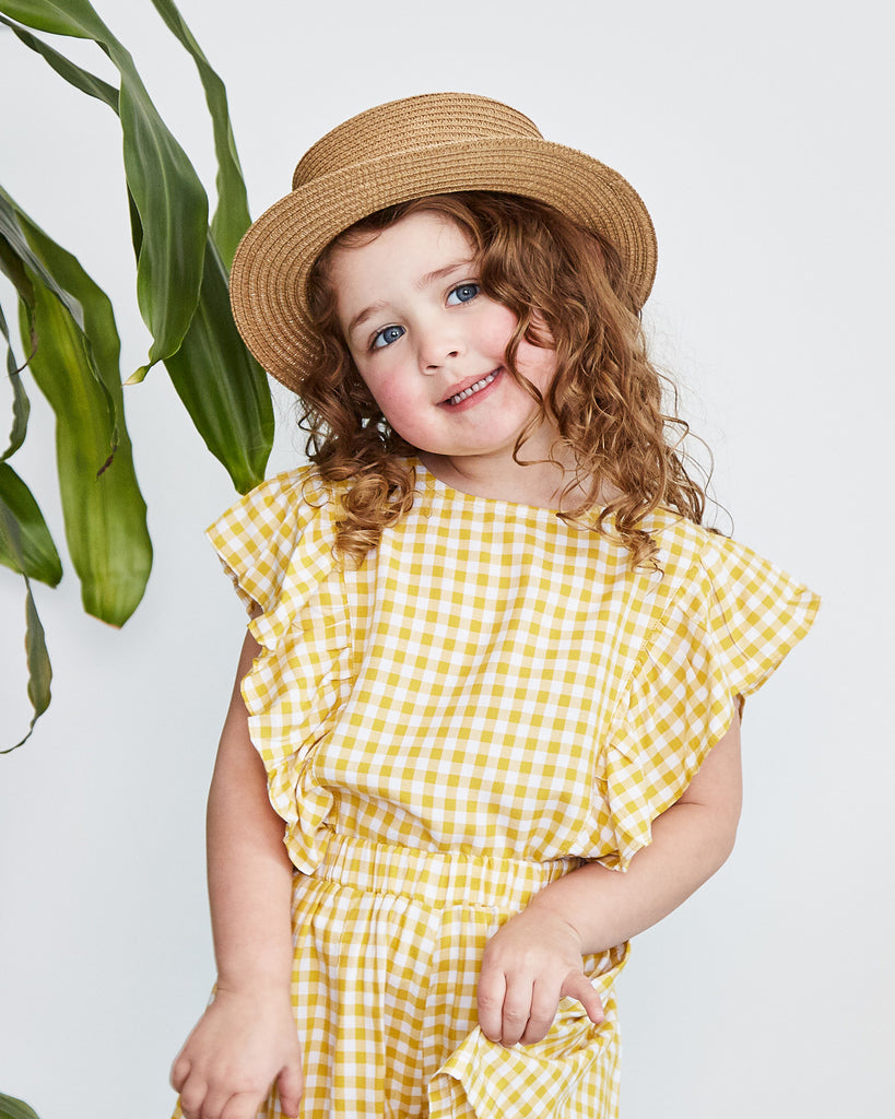 Belle Flutter Top in Gingham Yellow