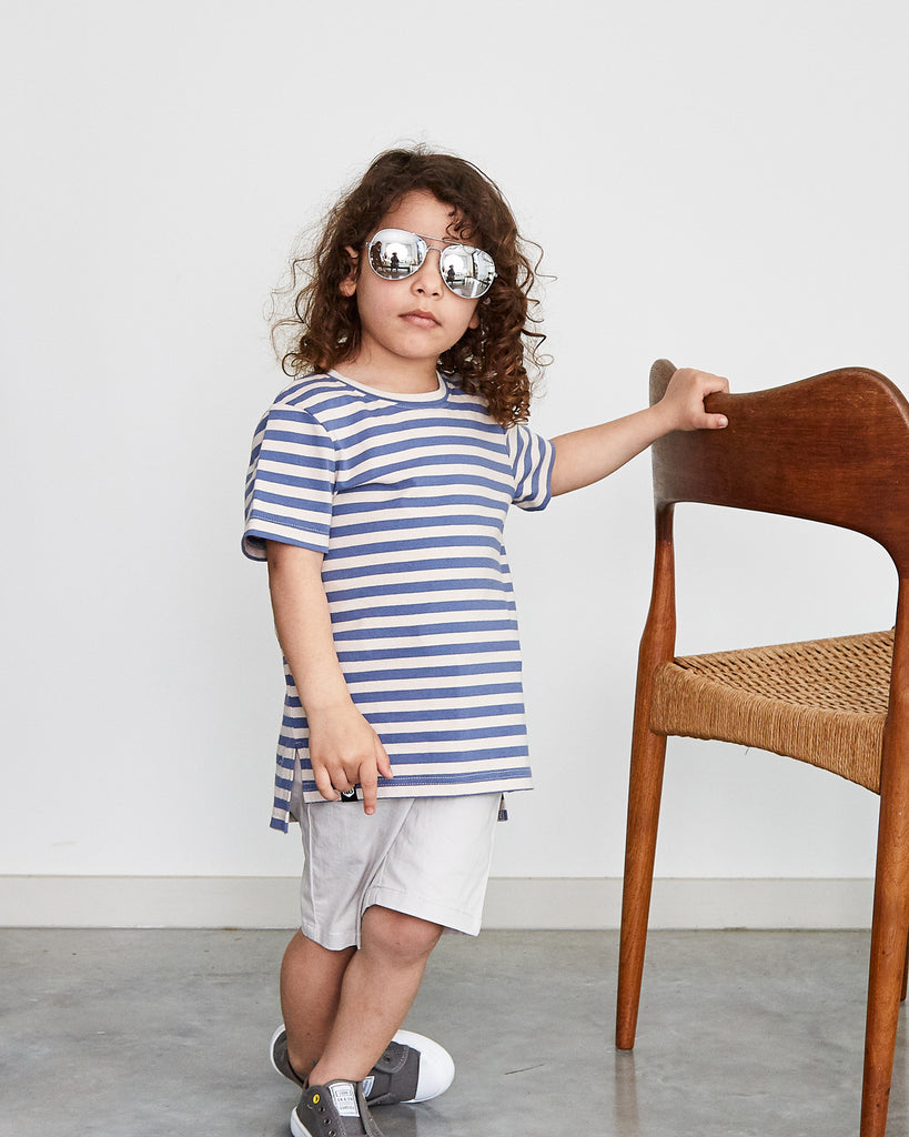 Buddy Tall Tee in Blue Stripe