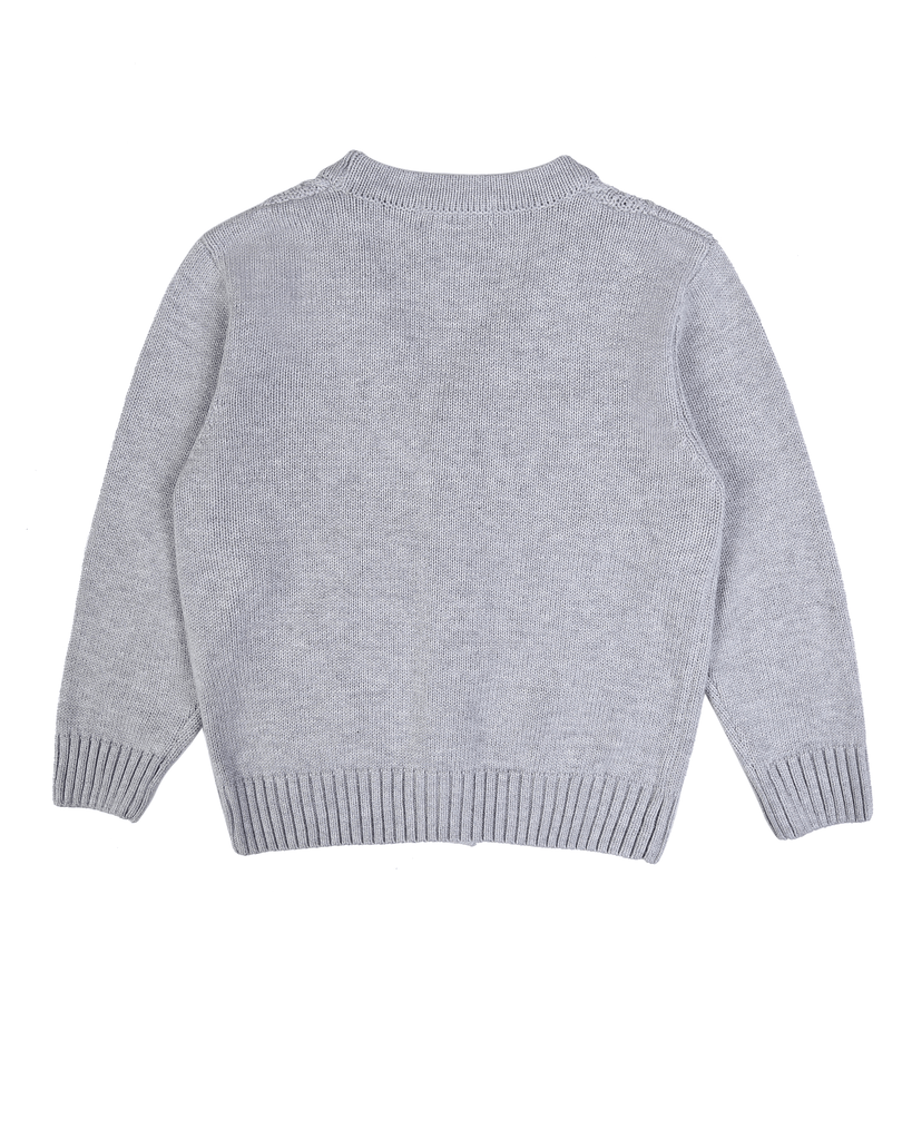 Cable Knit Cardi Grey Back