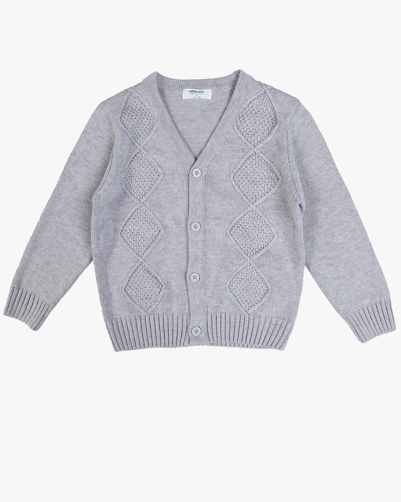 Cable Knit Cardi Grey Front