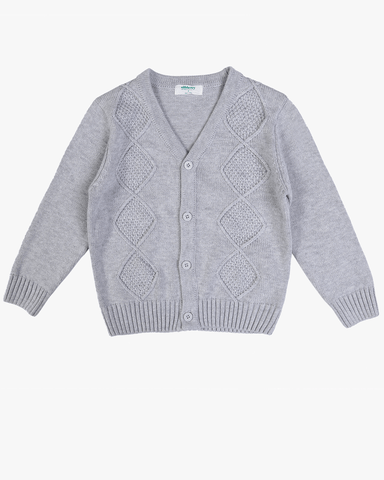 Crew Cable Knit Jumper In Charcoal