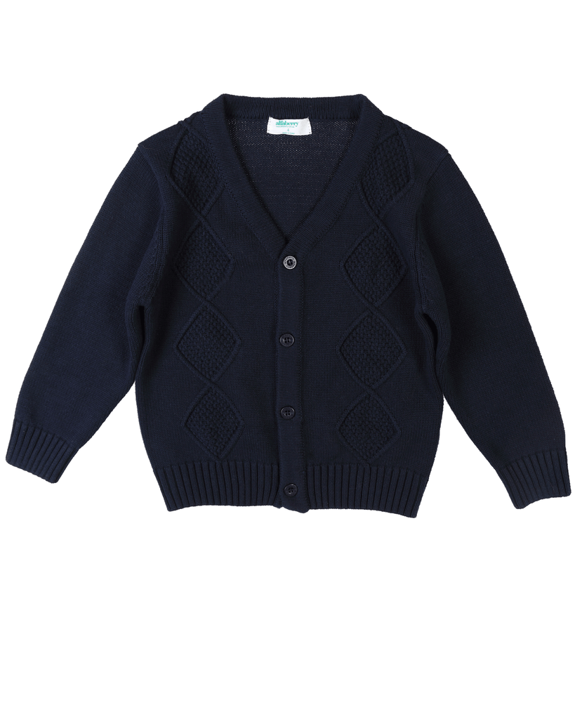 Cable Knit Cardi Navy Front