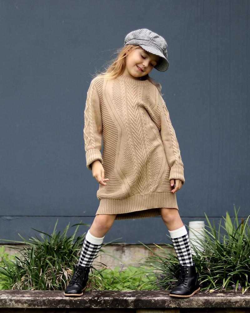 Cable Knit Jumper Dress in Oatmeal