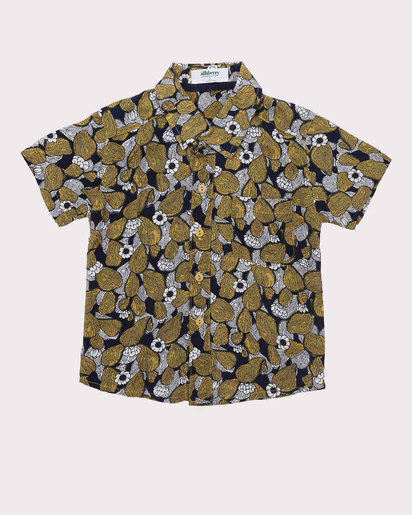 Cactus Floral Shirt in Mustard front