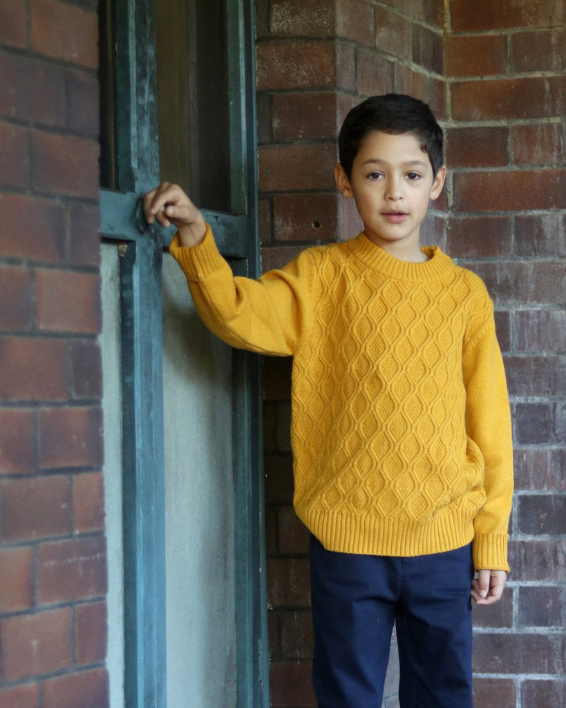 Chain Cable Jumper in Mustard