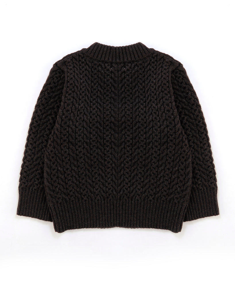 Crew Cable Knit Jumper In Charcoal Back