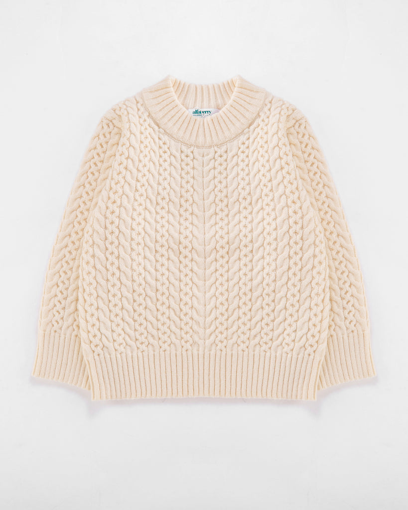 Crew Cable Knit Jumper in Cream Front