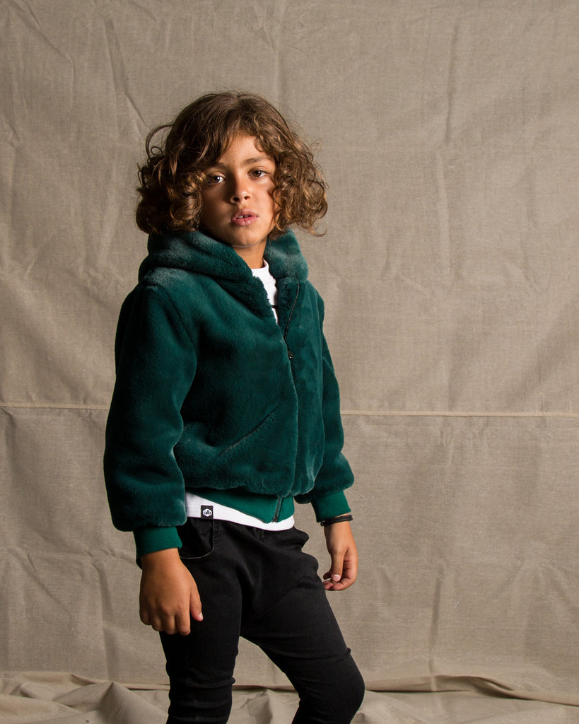 Look out Faux Fur Hoodie Jacket Styled for boys