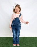 Denim Flare Overalls on Model