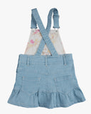Dungaree Frill Dress Light Denmin Back
