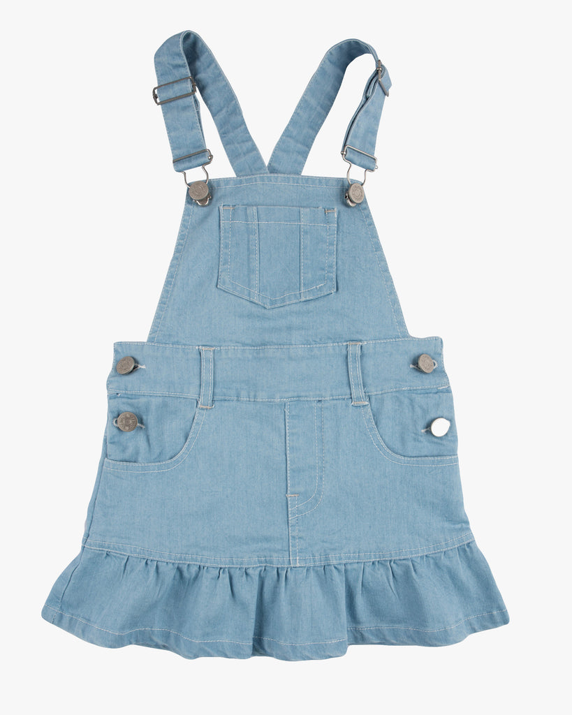 Dungaree Frill Dress Light Denmin Front