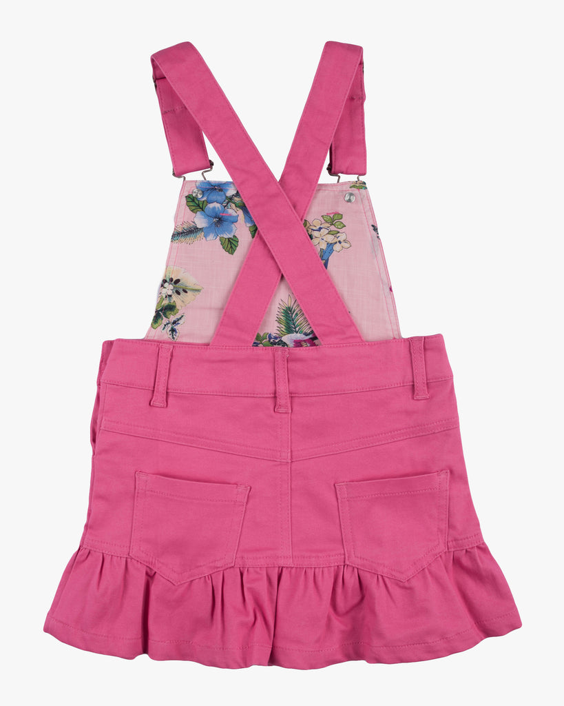 Dungaree Frill Dress Fuschia Back