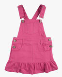 Dungaree Frill Dress Fuschia Front