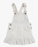 Dungaree Frill Dress White Front