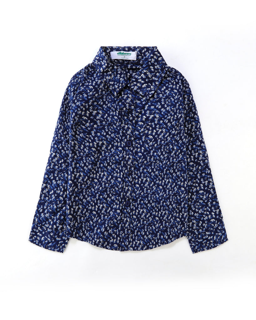 Floral Confetti Long Sleeve Shirt in Navy Front