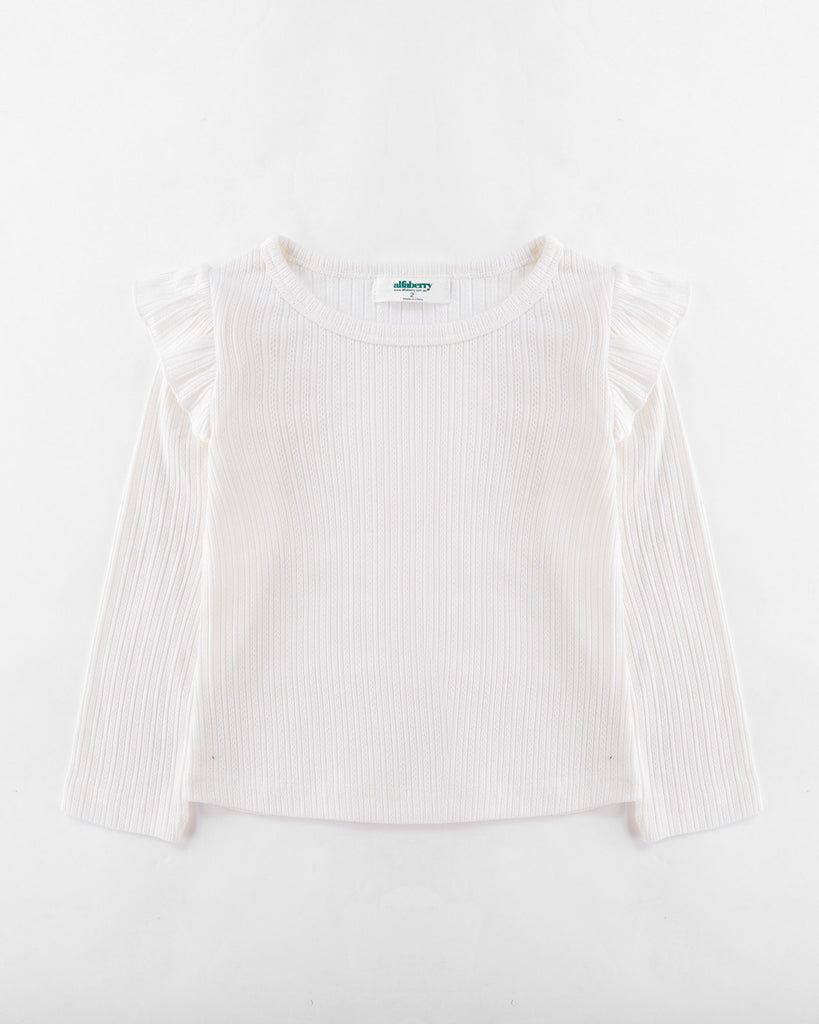 Flutter Long Sleeve Top Ribbed in Ivory