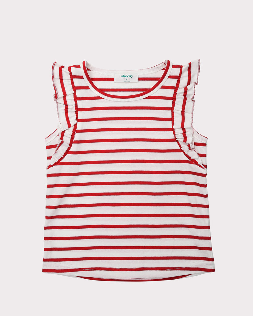 Flutter Tee In Red Stripes Front