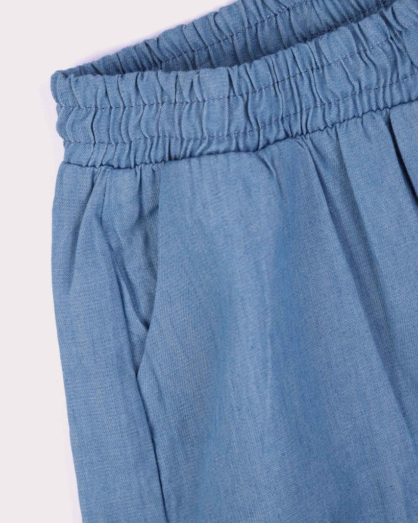 Frill Short in Chambray Detail Shot