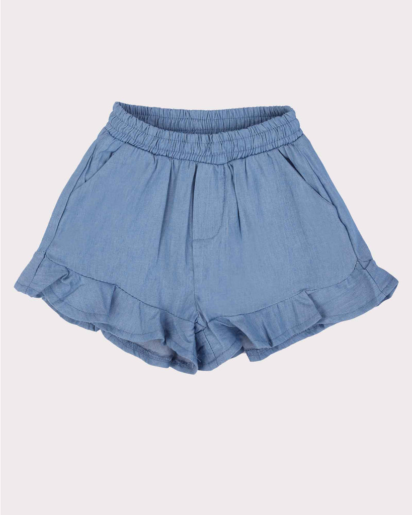 Frill Short in Chambray Front