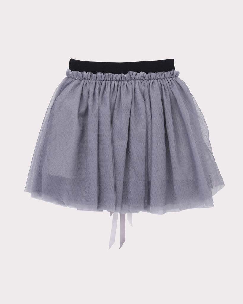 Gathered Tulle Skirt in Silver back