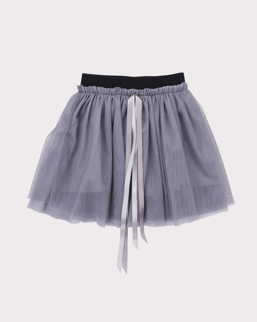 Gathered Tulle Skirt in Silver front