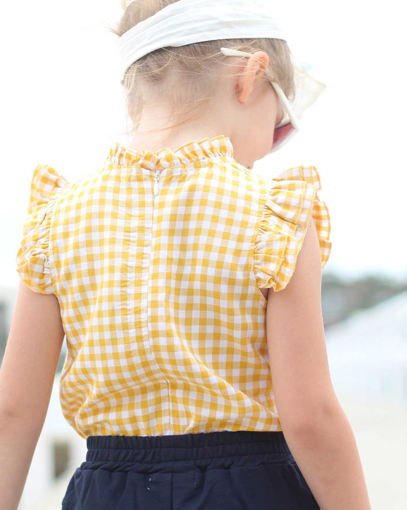 Mini Ruffle Gingham Top in Yellow on model back