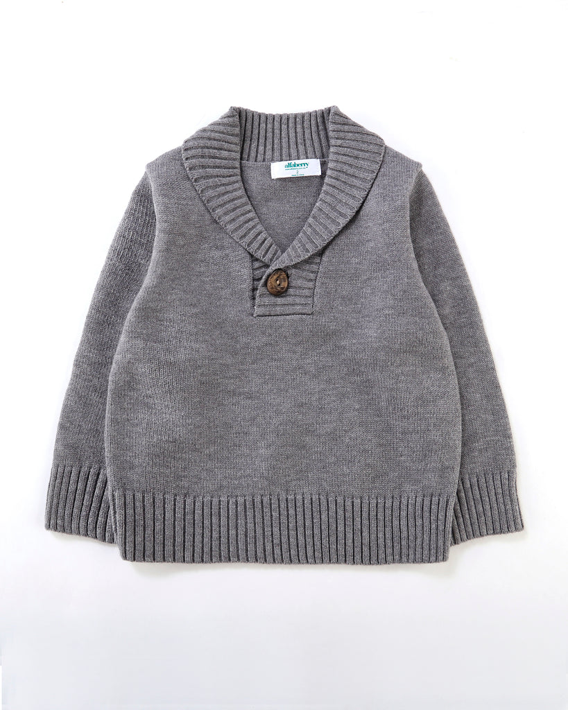 Good Times Collared Jumper in Grey Front