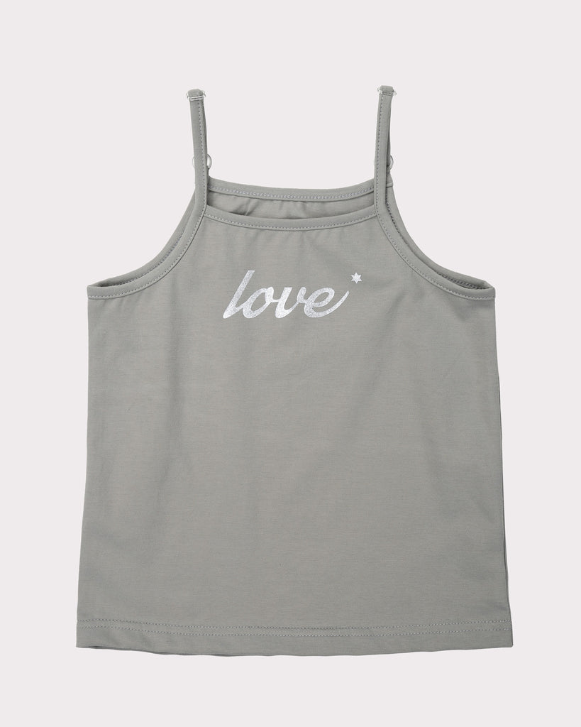 Fitted Tall Strappy Top In Grey Front