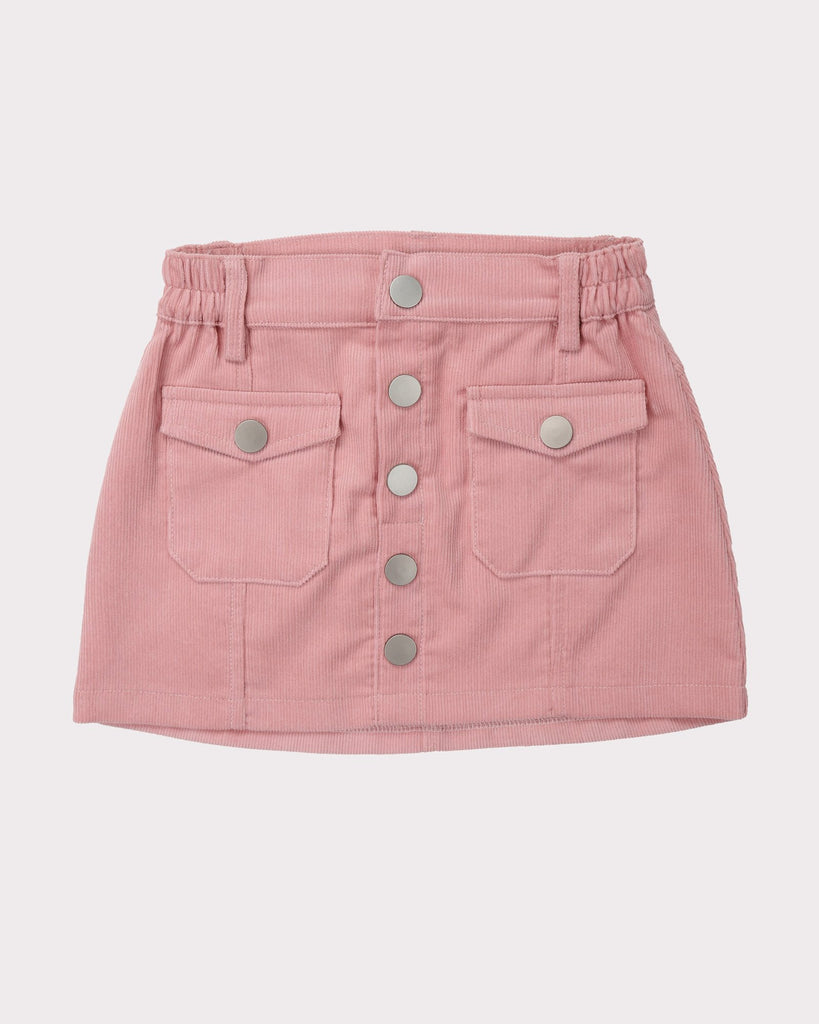 Sunset Cordury Skirt In Pink Front