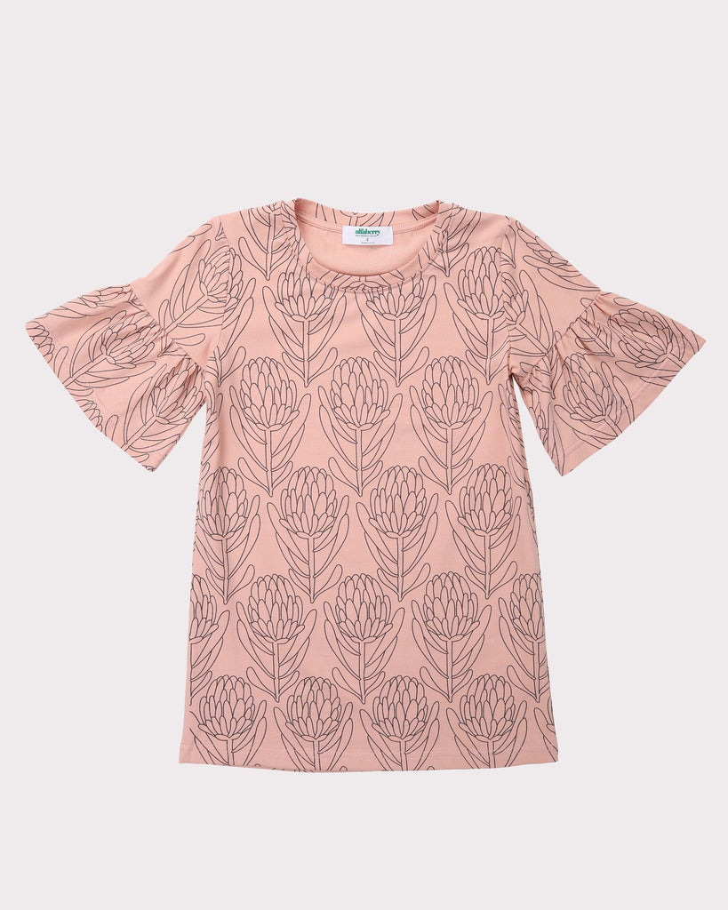 Waratah Tee Dress In Dust Front