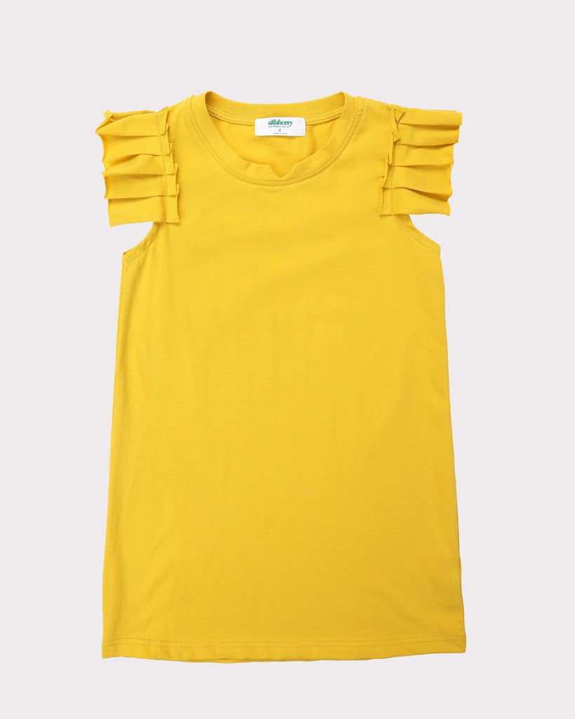 Pleated Sleeve Dress In Mustard Front