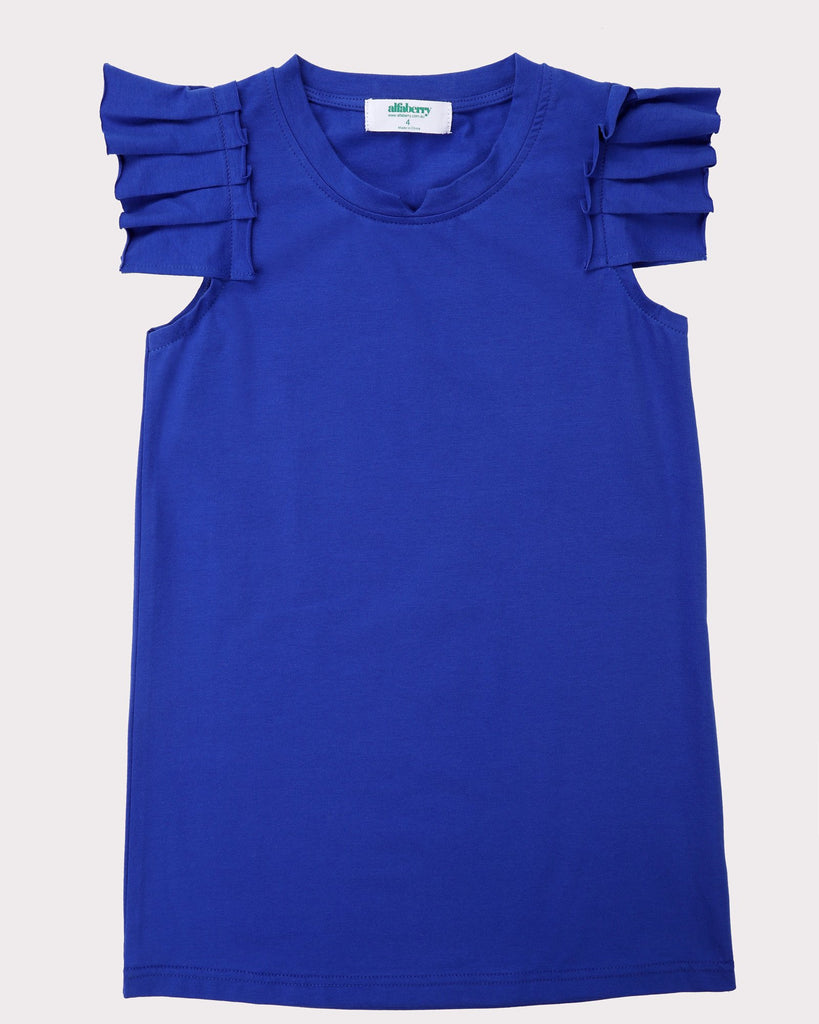 Pleated Sleeve Dress In Cobalt Front
