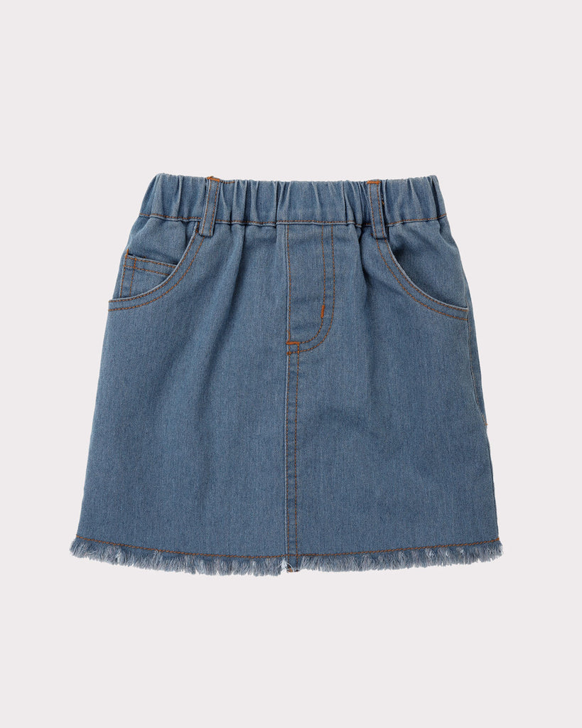 Kick Back Frayed Denim Skirt in Mid Blue