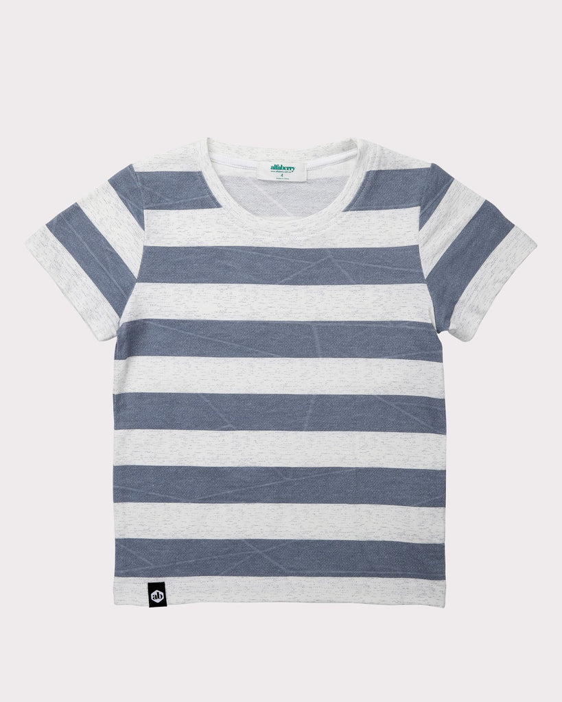 Large Stripe Explorer Tee In Grey Front