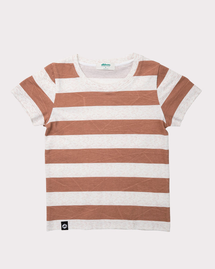 Large Stripe Explorer Tee In Rust Front