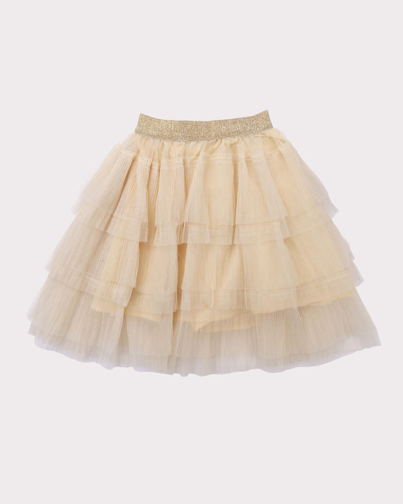Layered Tulle Skirt in Gold back