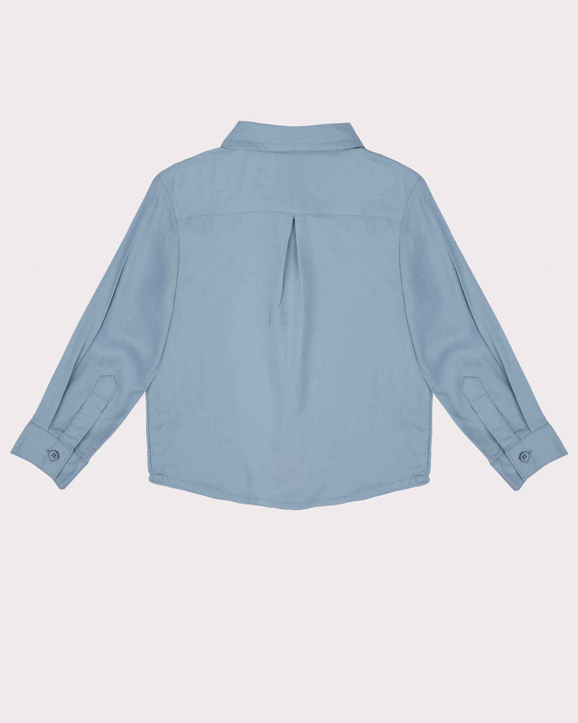 Linen Beach Shirt in Faded Blue Back