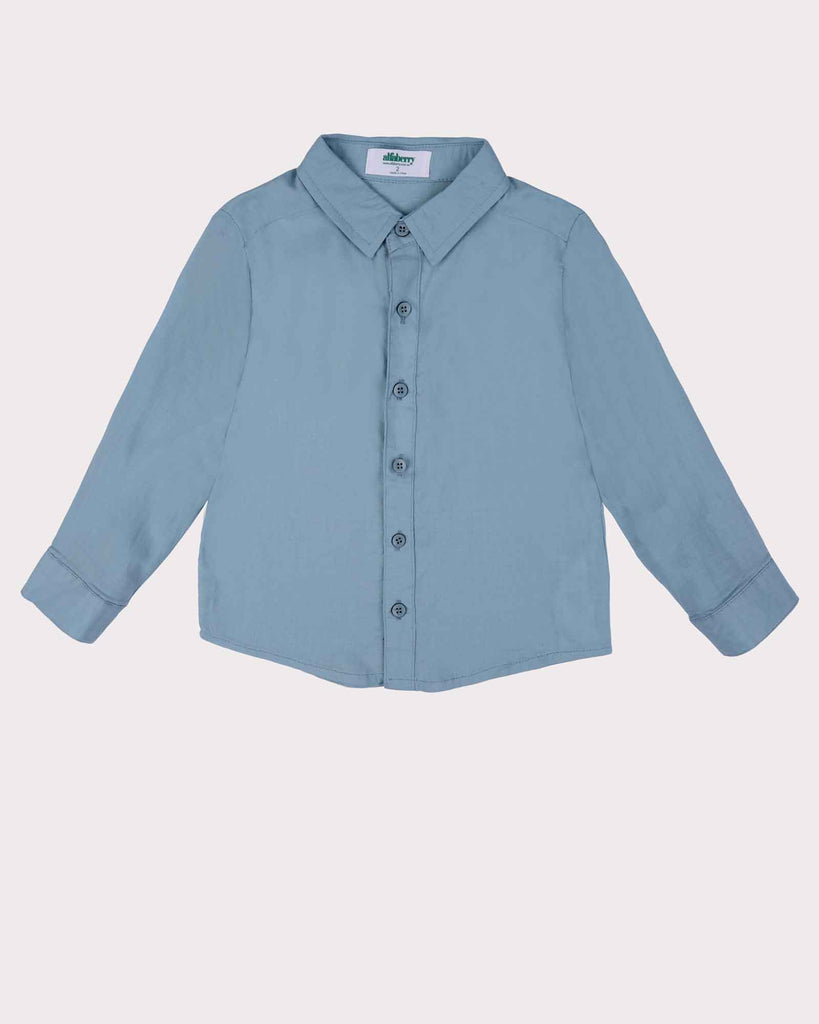 Linen Beach Shirt in Faded Blue Front